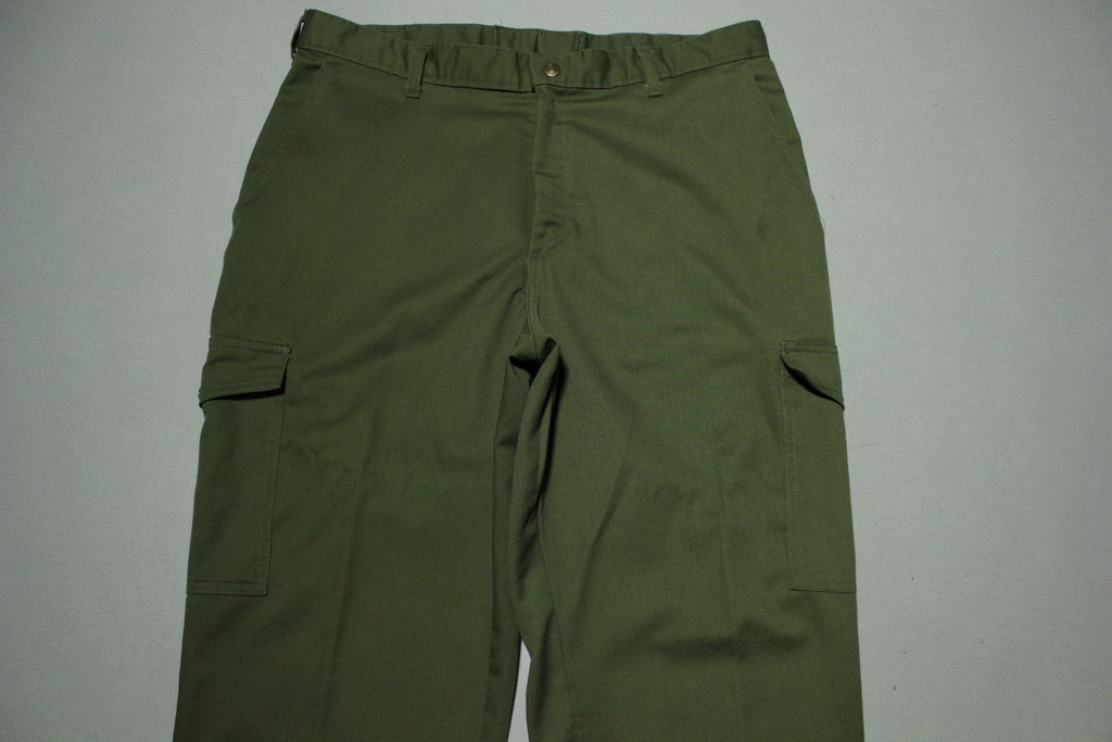 Boy Scouts Official Uniform Cargo Army Green Utility Vintage Den Leader Pants.