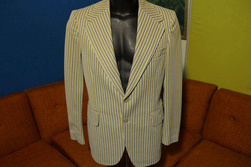 McGregor Vintage 70's Gold Striped Disco Blazer Sports Coat Leisure Suit