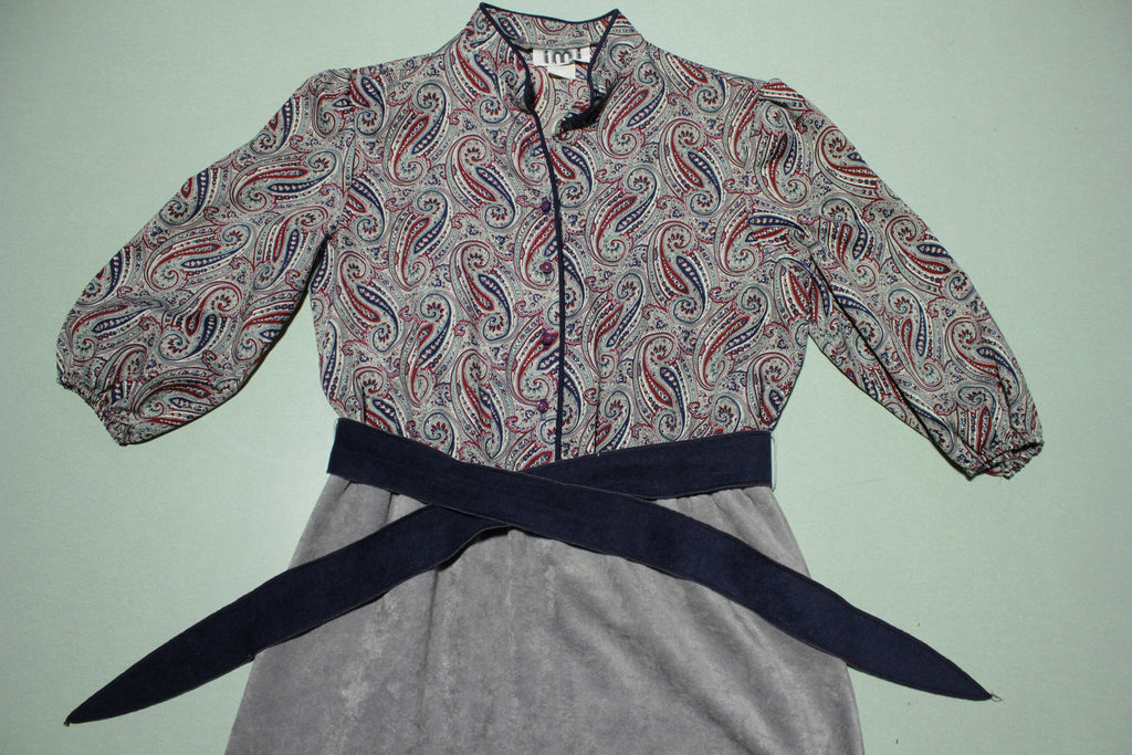 IMI Vintage 80s Sleeve Dress With Cloth Matching Waist Tie
