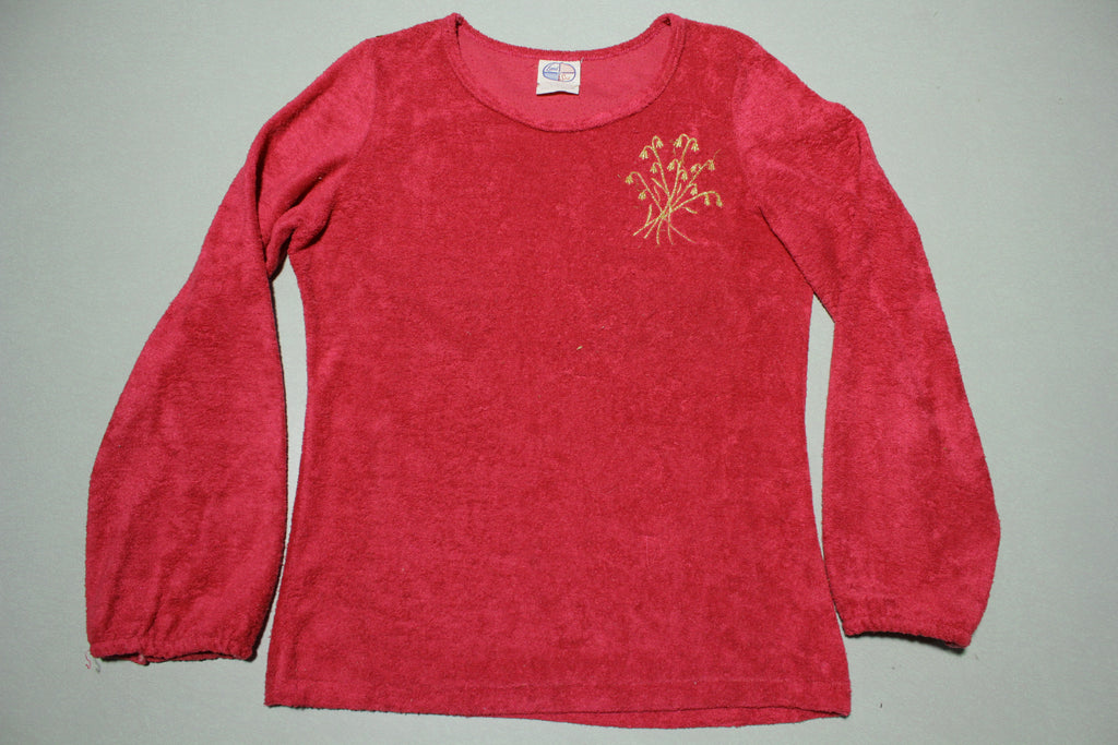 Land Sea Vintage 80s Pink Terry Cloth Womens Top
