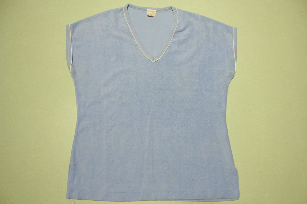 Blue Vintage 80s Color Block Terry Cloth Womens Top