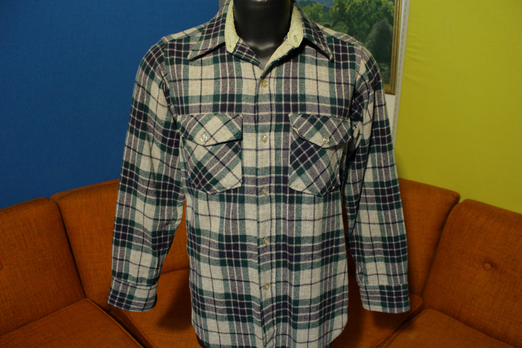 Woolrich Vintage Plaid Checker Flannel Wool Blend Button 60s 70s 80s Shirt USA