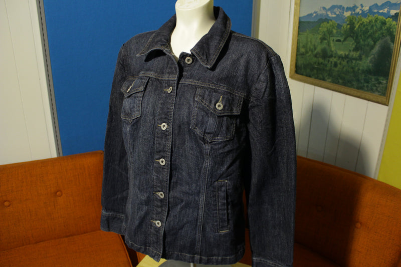Tommy Hilfiger Women's Size Large Stretch Denim Dark Blue Button Jean Jacket