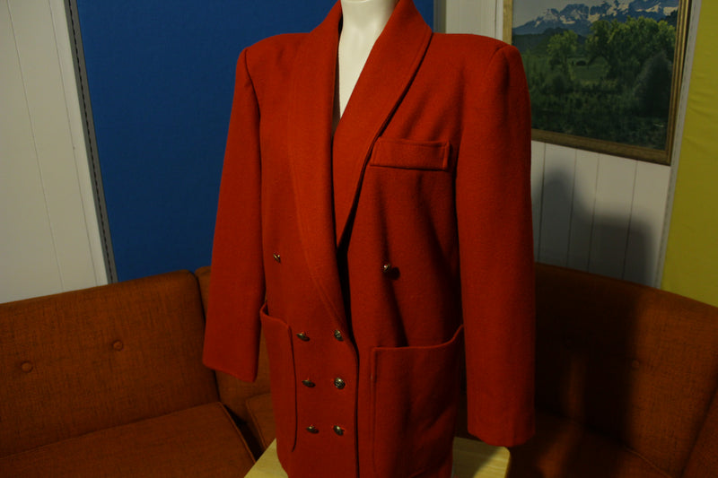 Vintage Womens Red Wool Pea Coat Patch Pocket Double Breast Size Large NWOT