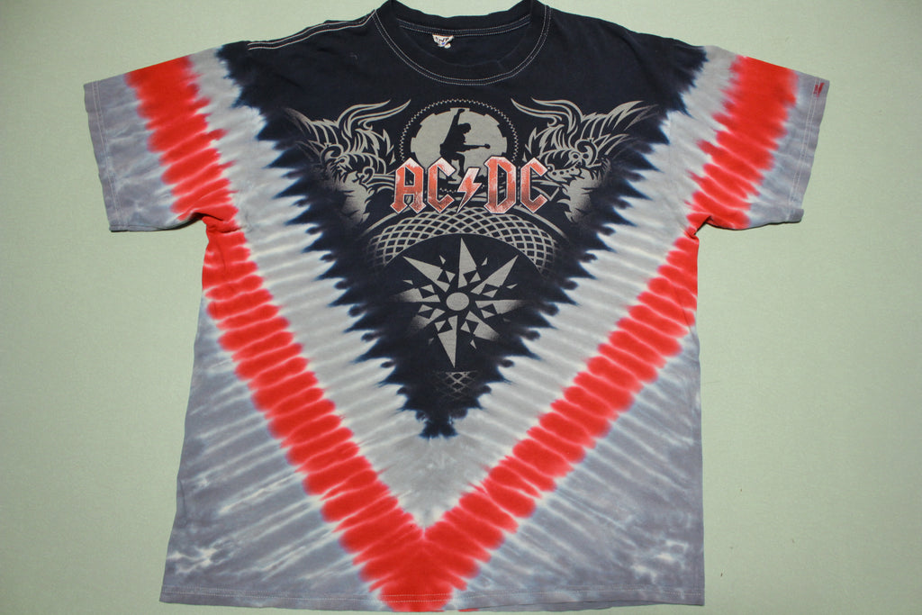 AC DC 2008 Black Ice World Tour Tie Dye Concert Cities T-Shirt