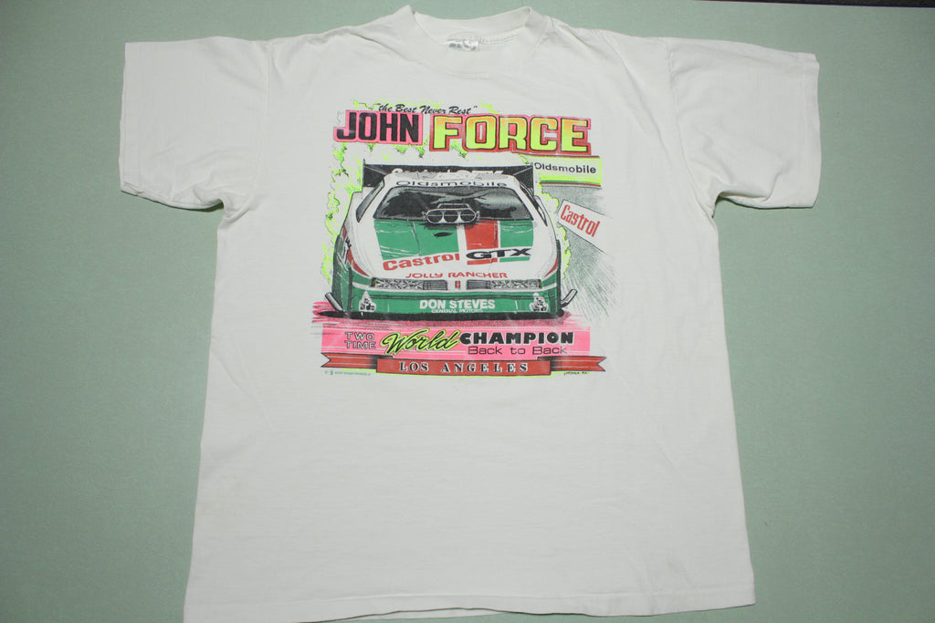 John Force GTX Castrol World Champion Back to Back L.A. Vintage 90s T-Shirt
