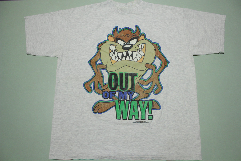Taz Get Out of My Way Vintage Looney Tunes 1997 90s Cartoon T-Shirt