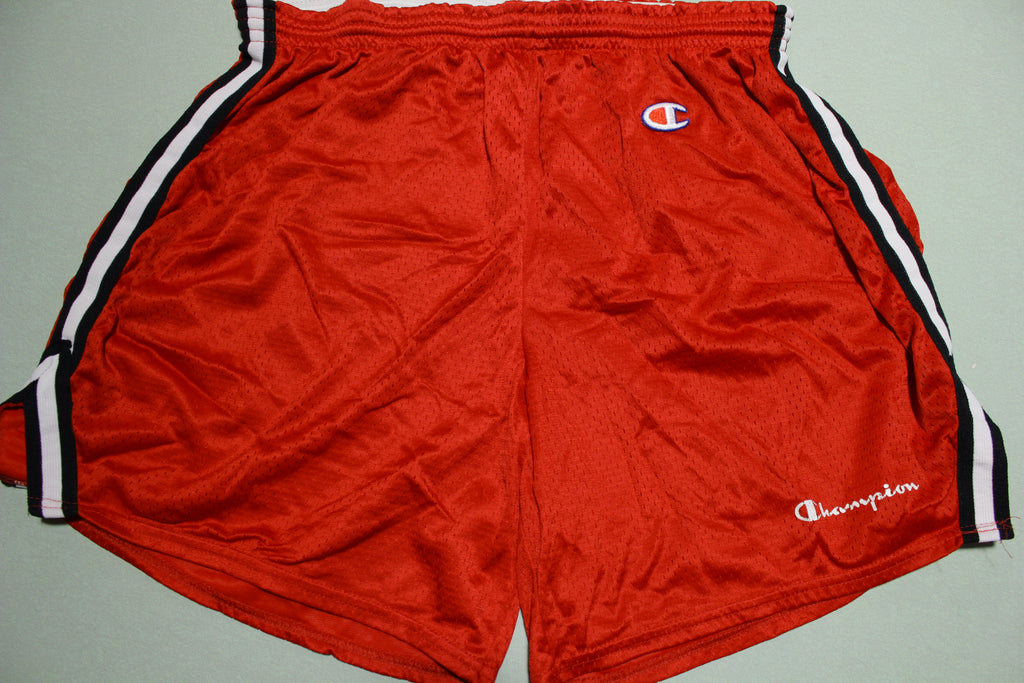 Chamion Logo Vintage 80's Red Striped Gym Basketball Shorts
