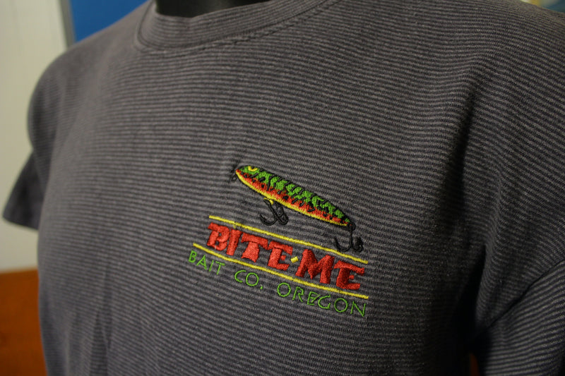 Bite Me Bait Co. Oregon Vintage 90s Striped T-Shirt Funny Embroidered