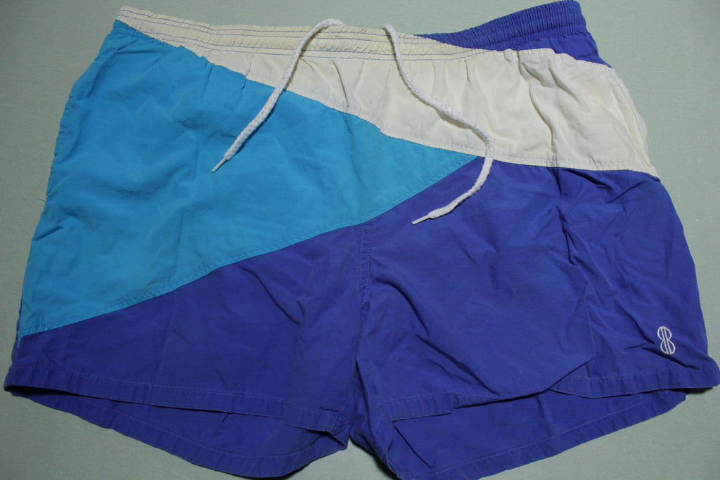 Bill Blass Vintage 80's Blue Beach Swimming Summer Shorts