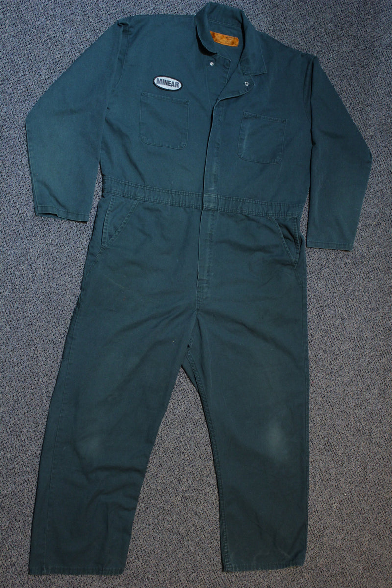Red Kap Minear Distressed Mechanic Union Suit Coveralls Overalls Green Long Sleeve