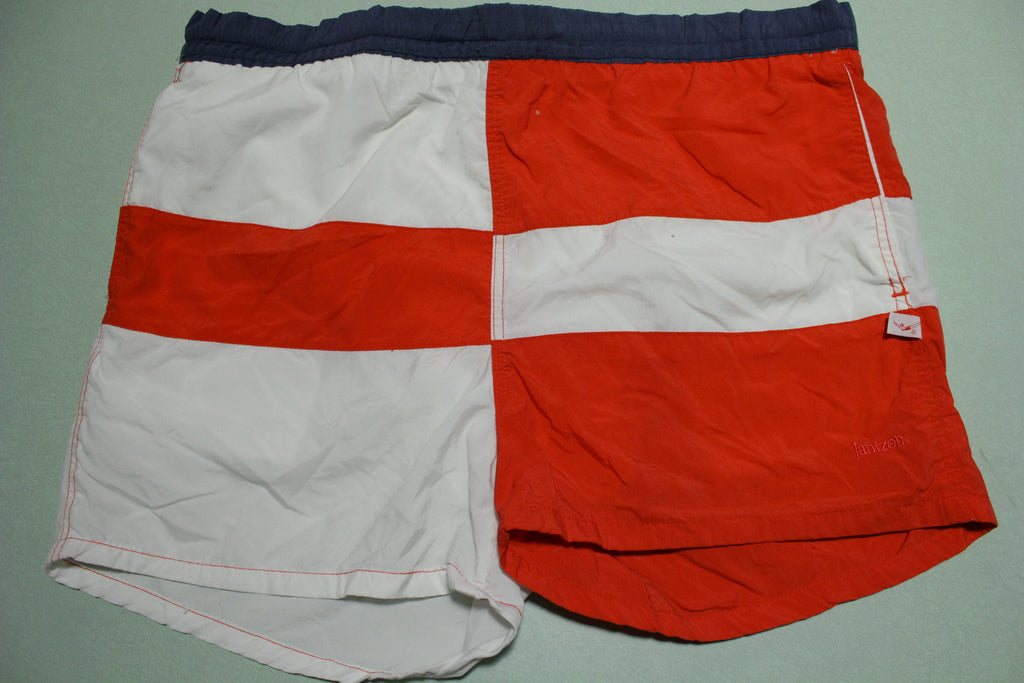 Jantzen Color Block Vintage 80's Red White Beach Swimming Summer Shorts