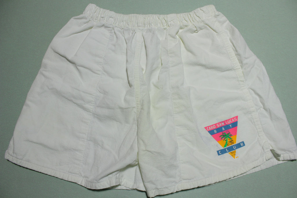 Cabo San Lucas Vintage 80's White Beach Swimming Summer Shorts