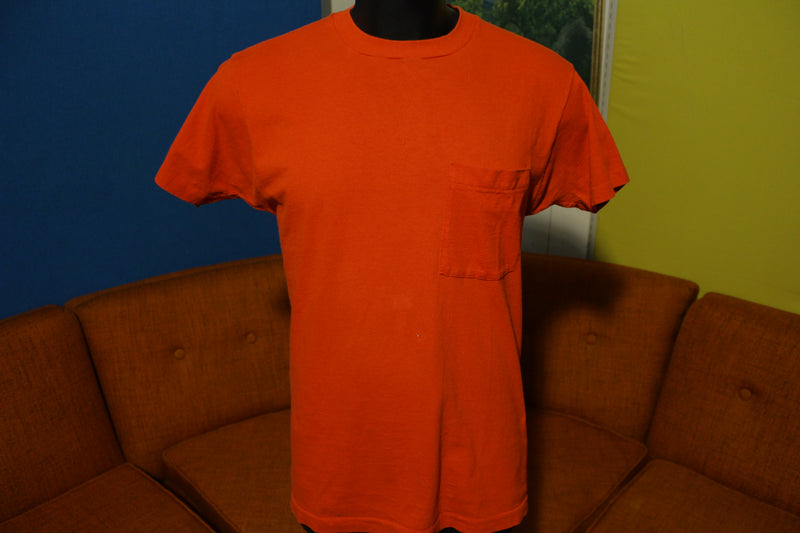 Fruit Of The Loom Vtg Square Selvedge Pocket Single Stitch 80s Red Blank T-Shirt