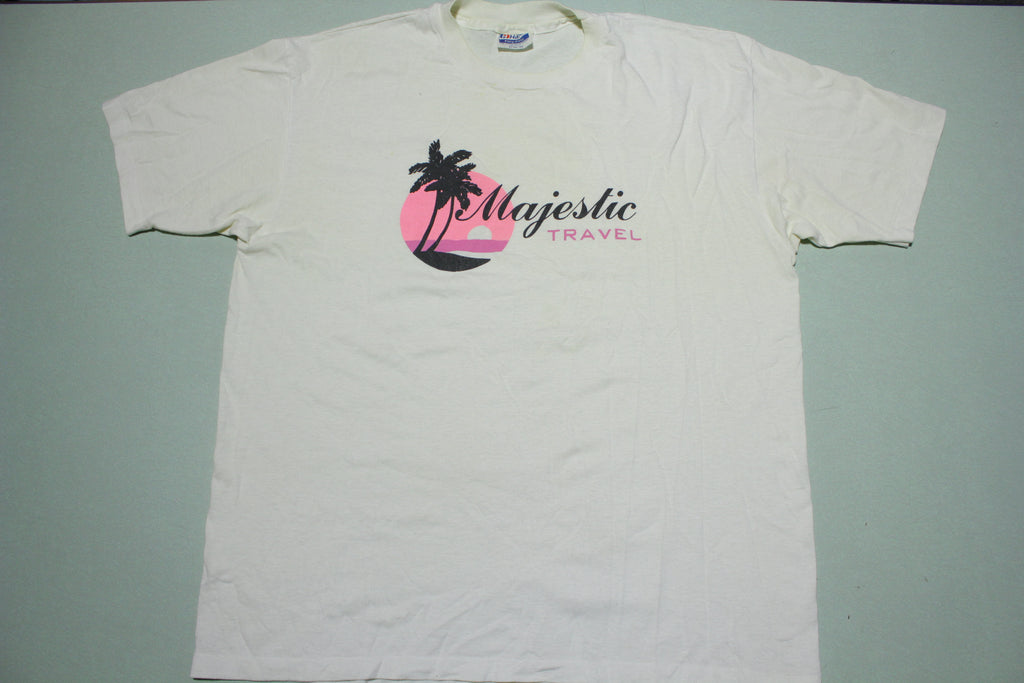 Majestic Travel Sunset Beach Vintage 80s Hanes Fifty Single Stitch USA T-Shirt