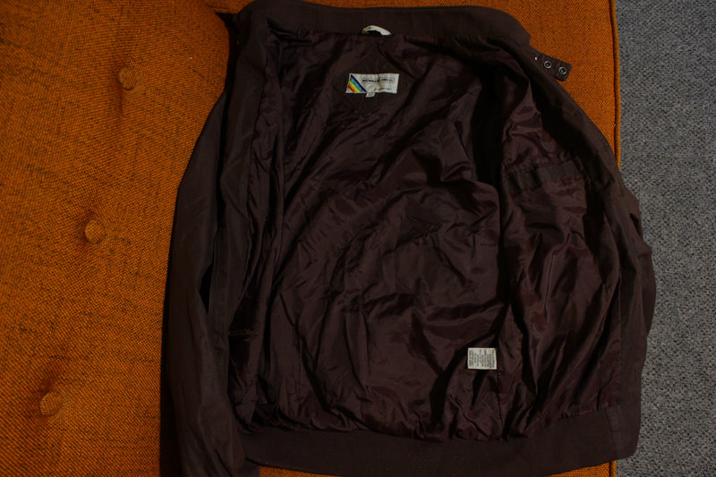Members Only Vintage 80's Europe Craft Rainbow Tag Jacket Dark Purple