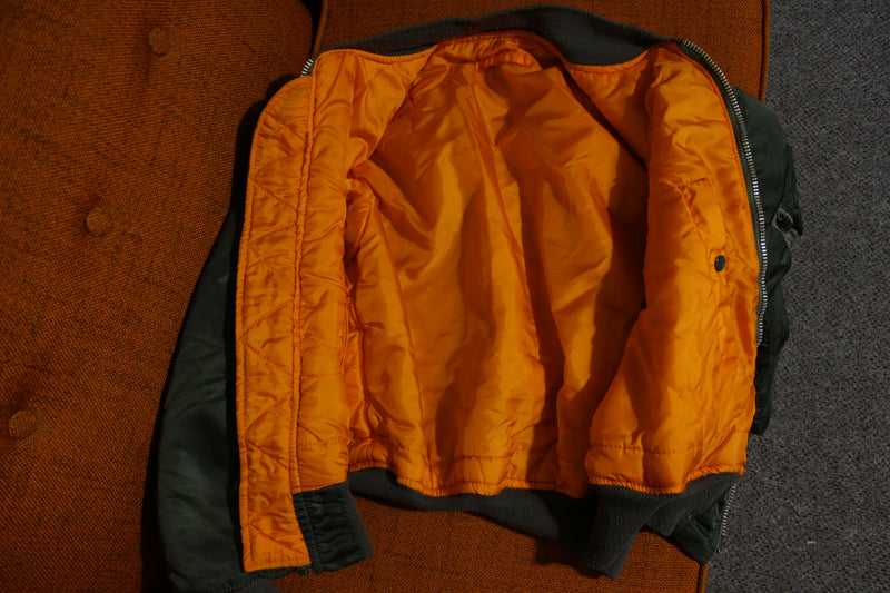 Alpha Industries Vtg MA-1 Flight Bomber Jacket Official Green Orange USA Made Coat