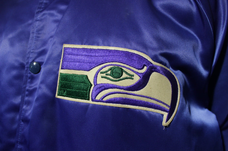 Seattle Seahawks Vtg Chalk Line 80's Quilt Satin Patch Jacket Snap CRISP XL