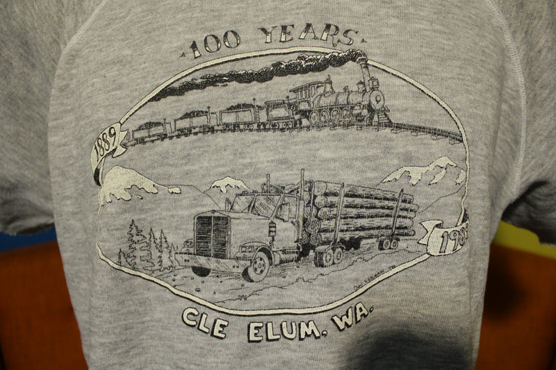 100 Years Cle Elum WA 1989 Vintage Short Sleeve Heathered Sweatshirt. Animal House