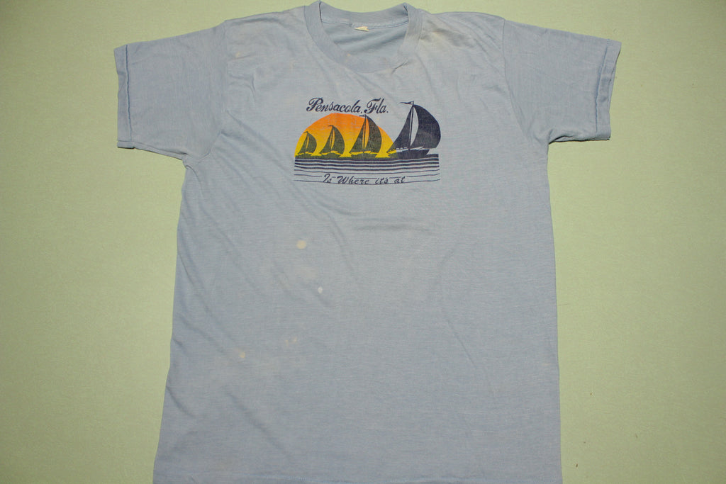Pensacola Florida Where Its At Vintage Tourist Location Single Stitch 80's T-Shirt