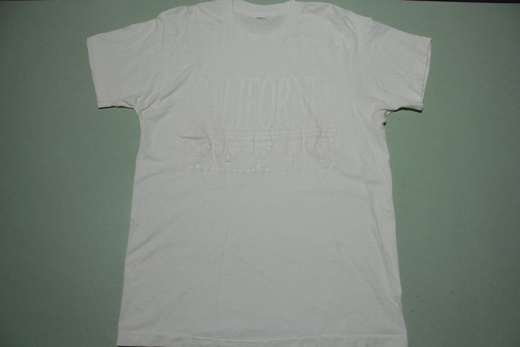 California White on White Puff Print Vintage Tourist Location Single Stitch 80's T-Shirt