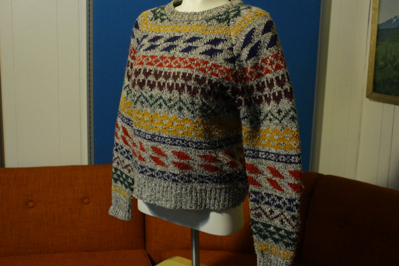 Segue Vintage 80's Multi-Color Rainbow Striped Cosby Sweater Small