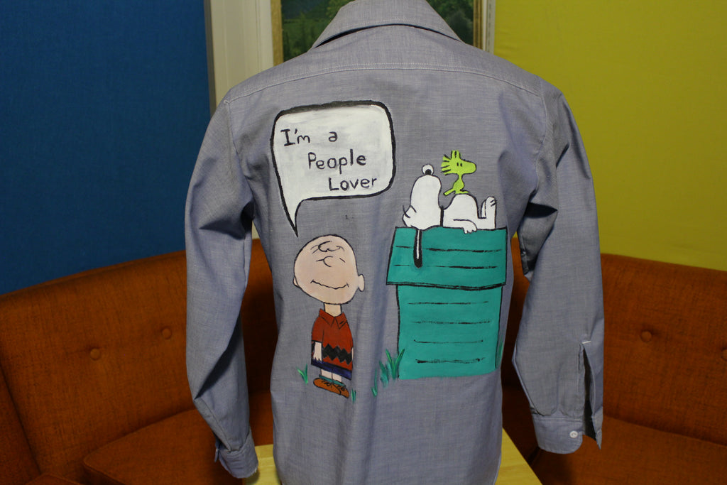JC Penney 70s Big Mac Vtg Chambray Work Shirt Hippie Snoopy Woodstock People