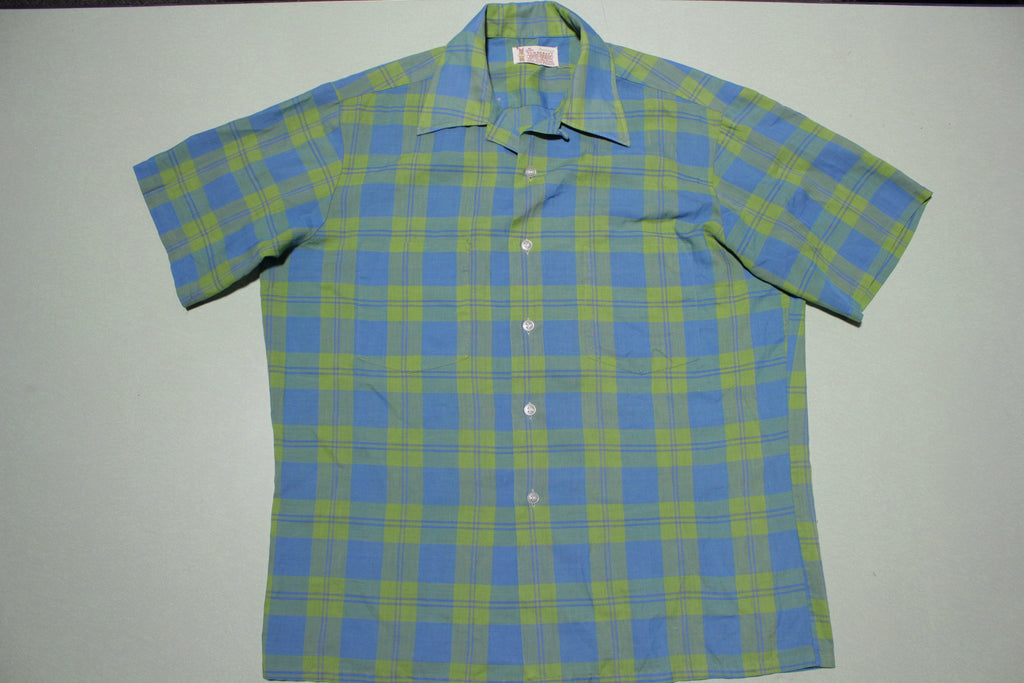 Towncraft Penneys Penn Prest Loop Collar Blue Green Plaid Vintage 60s Button Up Shirt