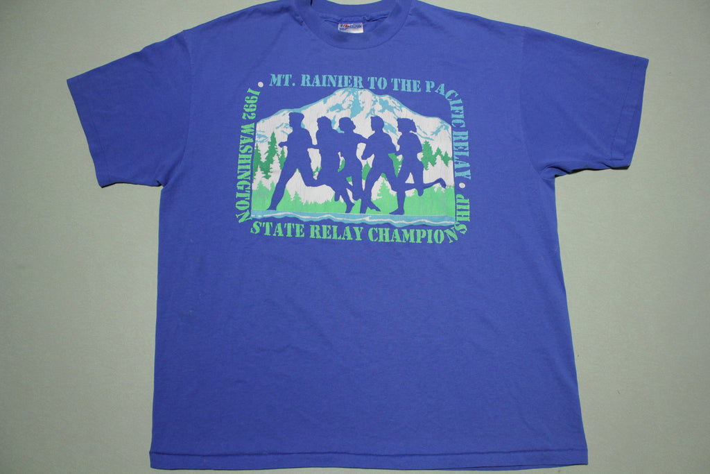 Mt Rainier 1992 State Relay Champions Vintage Single Stitch 90s Hanes USA T-Shirt