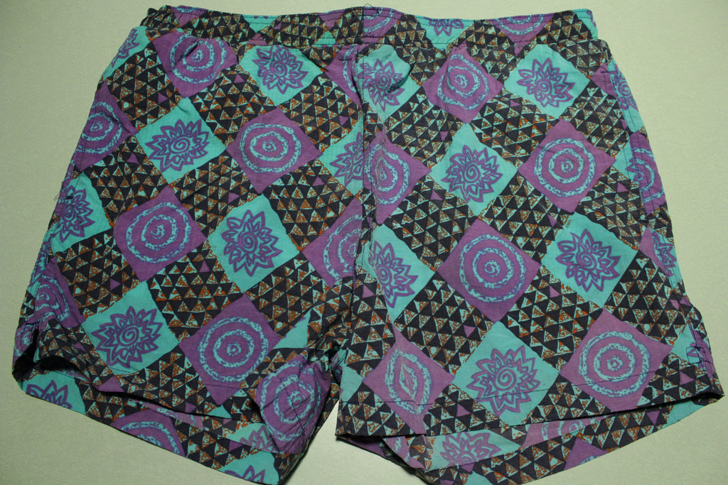 Pacific Scene Beach Shorts Vintage 80's Colorful Swimming Trunks