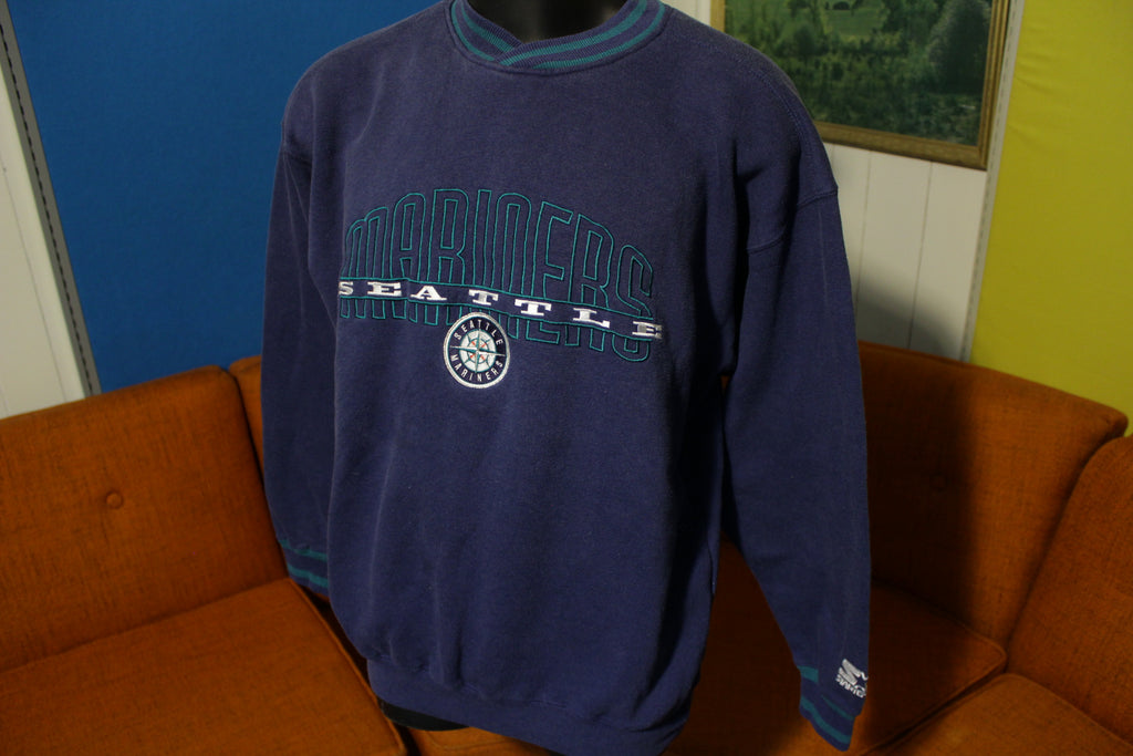 Seattle Mariners Vintage 90's Starter V-Neck Pullover Sweatshirt Sweater Embroidered