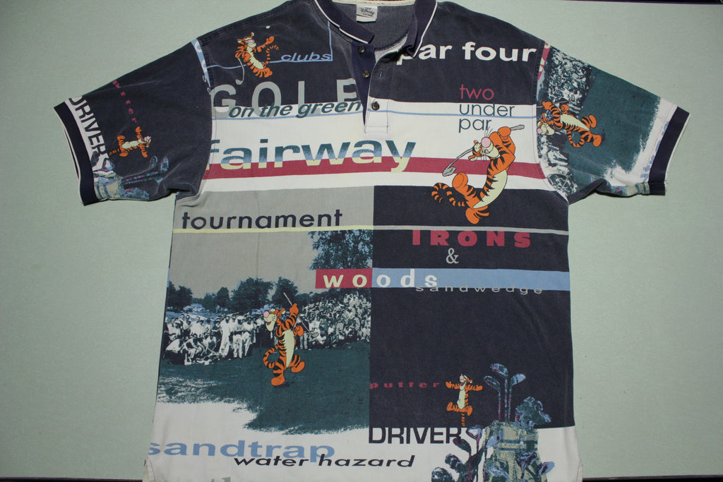Tigger Woods Fairway All Over Print Vintage 90s Golf Polo Shirt
