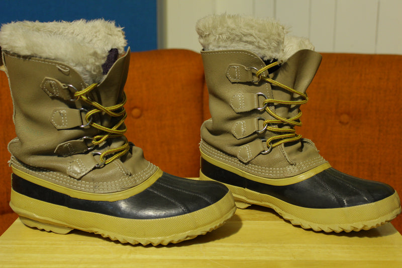 Sorel Manitou Vintage Women's Size 8 Winter Weather Tan Leather Snow Boots