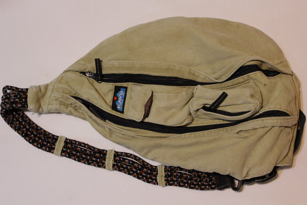 Kavu Seattle USA Brown Khaki Vtg Rope Sling Crossbody Bag Shoulder Backpack