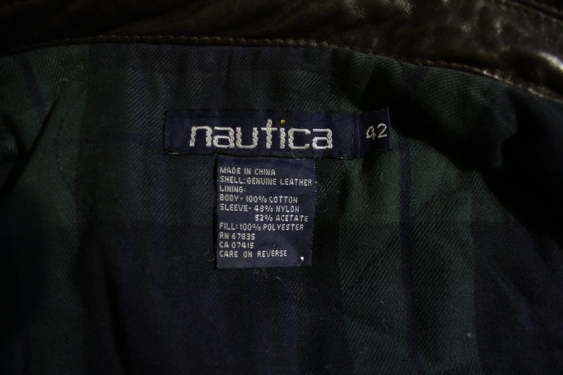 Nautica Soft Dark Brown Leather Flight Bomber Jacket XL Plaid Flannel Lined Vtg