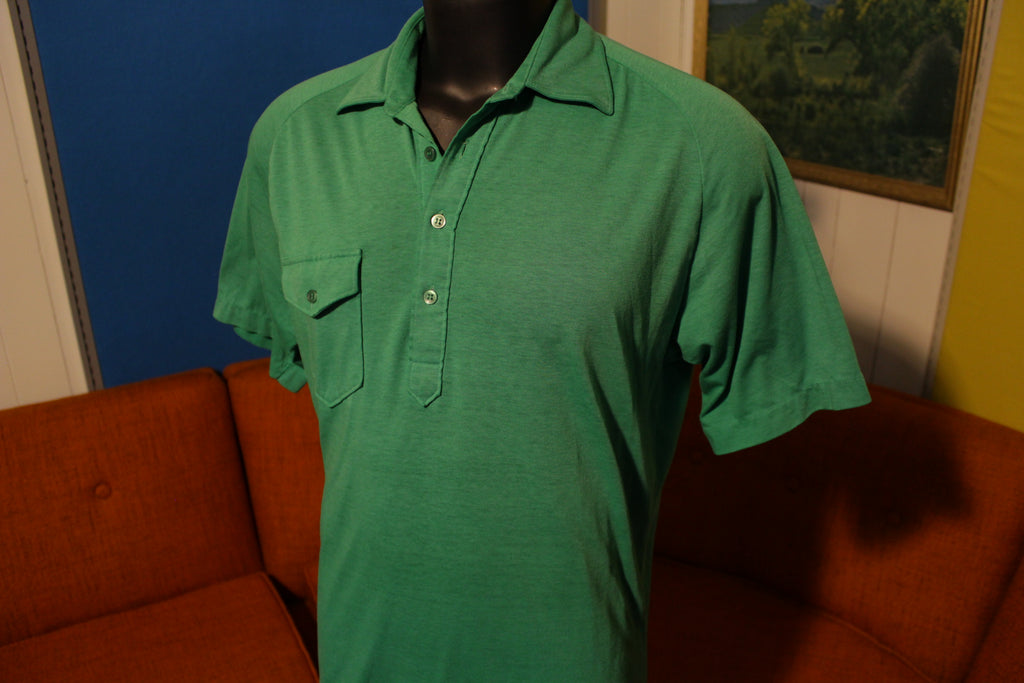 Aureus Masters Green Vintage 80's Polo Short Sleeve 4 Button Shirt Soft and Thin