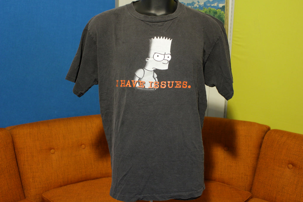 Bart Simpson I Have Issues Vintage 90's Black XL Simpsons Changes USA T-Shirt