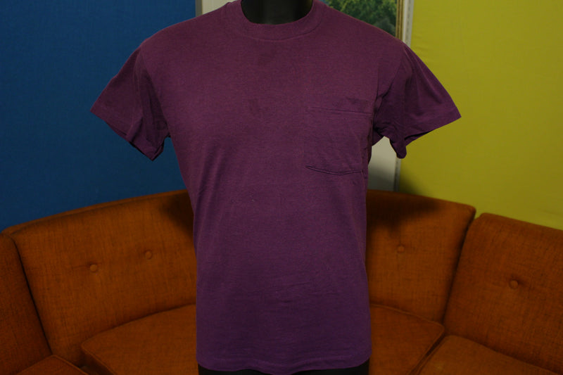 Fruit Of The Loom Vtg Square Selvedge Pocket Single Stitch 80s USA Blank T-Shirt