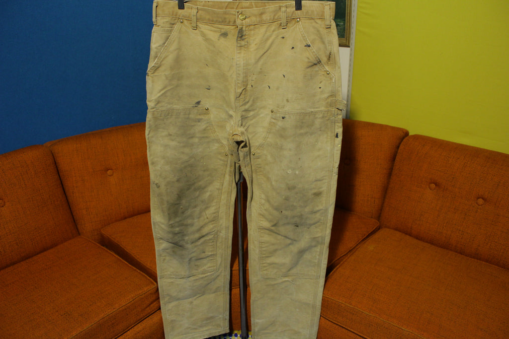 Carhartt B01 38x33 Washed Duck Work Pants Heavily Distressed USA Made