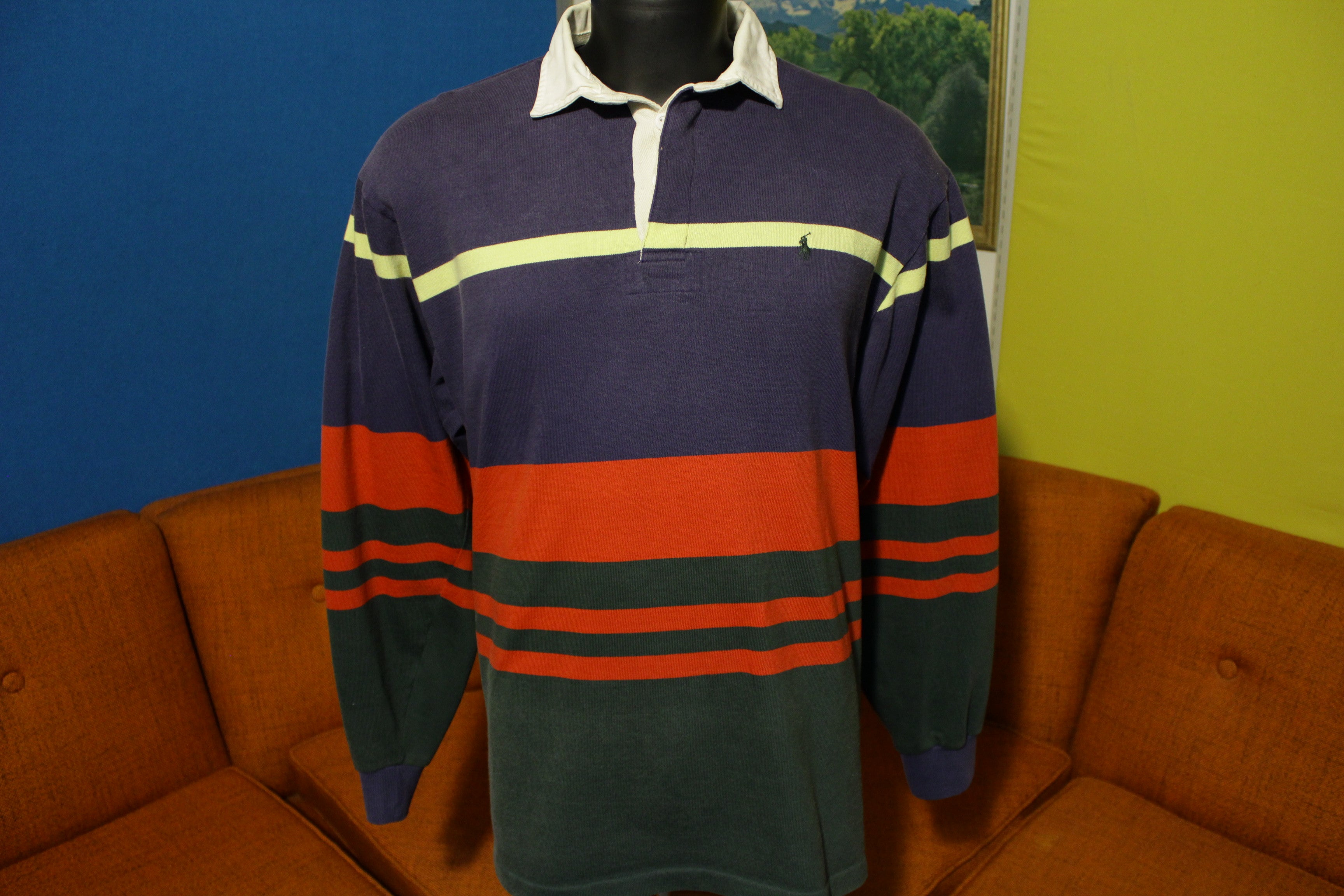 1045d682be07 Ralph Lauren Pony Polo Vintage 90's Long Sleeve Color Block Striped Rugby  Shirt