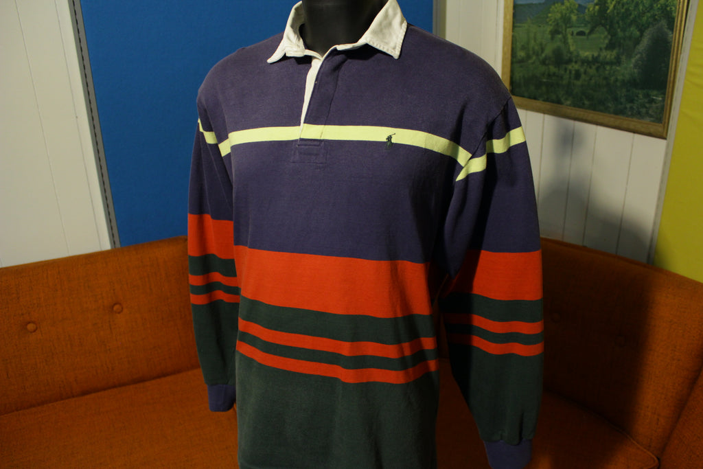 7b52e34ac Ralph Lauren Pony Polo Vintage 90's Long Sleeve Color Block Striped Rugby  Shirt