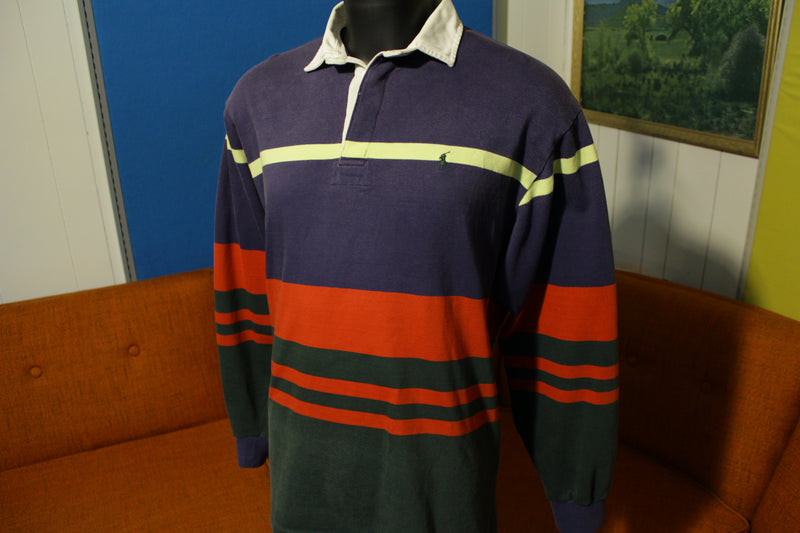 Ralph Lauren Pony Polo Vintage 90's Long Sleeve Color Block Striped Rugby Shirt