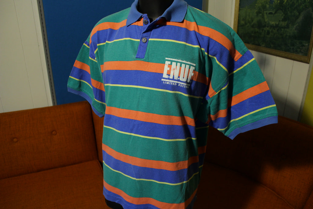 E.N.U.F Internationale Made in USA Vintage 90's Color Block Polo Shirt ENUF