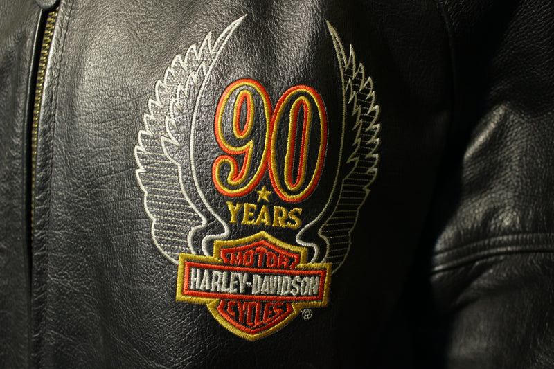 Harley Davidson Vintage 90 Years 1993 Leather Made In USA Jacket w/ Hanger