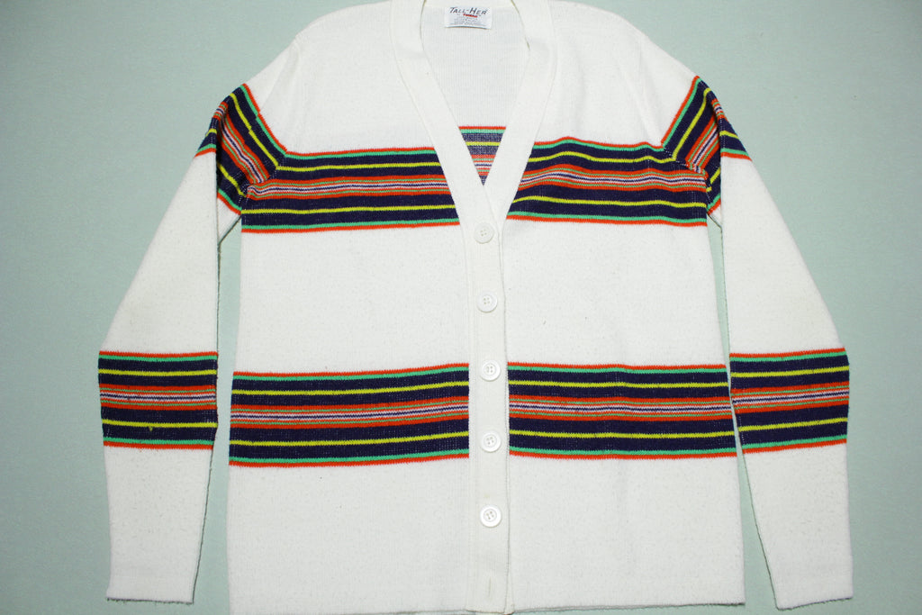 Tall Her Tuxan Vintage 70's Boho Multi Color Cardigan Button Up Sweater
