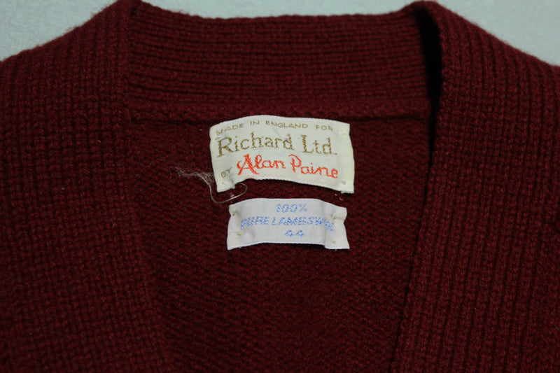 Richard LTD Alan Paine Vintage Lambs Wool 60s Button Up Cardigan Sweater