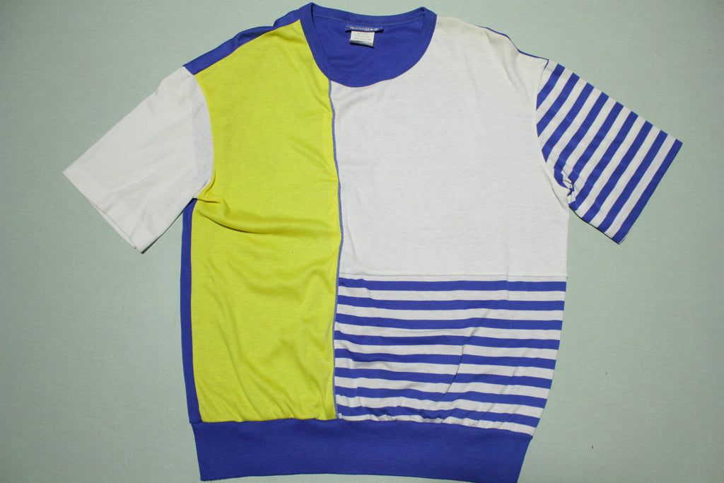 Fire Island Vintage 80s Color Block Striped New Wave Women's Short Sleeve T-Shirt Top