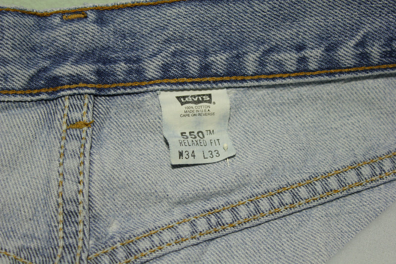 Levis 550 90s Red Tag Made in USA Vintage Blue Denim Jeans 34x32 Distressed Grunge
