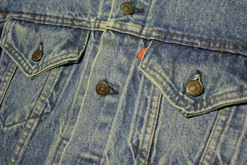 Levis 80's Faded Denim Trucker Jean Jacket 4 Pocket USA Made Red Tab 71506-0216