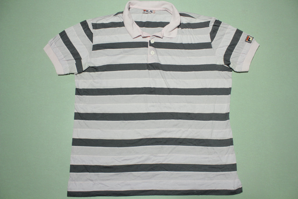 Fila Italy Vintage 90s Tennis Polo Striped Pink Gray Shirt